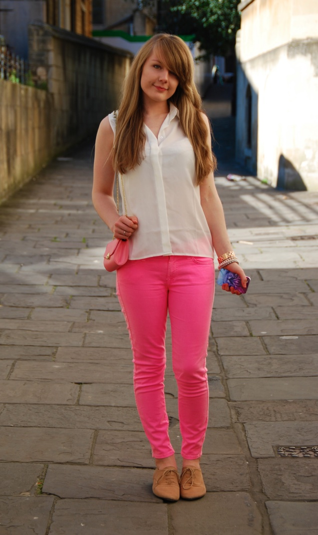 lorna burford neon pink Neon Pink Jeans And Rainbow Cat iPhone Case