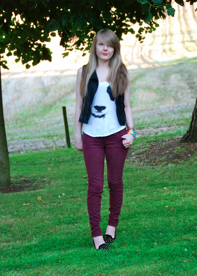 lorna burford red leopard Red Leopard Jeans With A Panda Tank Top