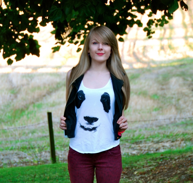 panda top urban outfitters Red Leopard Jeans With A Panda Tank Top