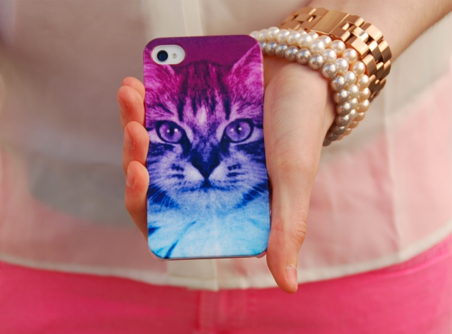 urban outfitters ombre cat iphone Neon Pink Jeans And Rainbow Cat iPhone Case