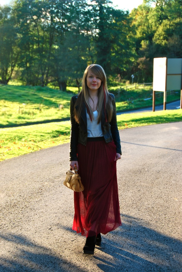 burgundy-skirt-leather-jacket