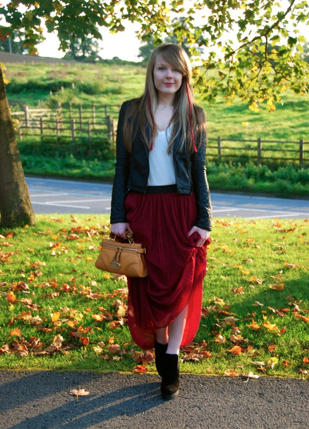 The Burgundy Maxi Skirt And Leather Jacket Raindrops Of