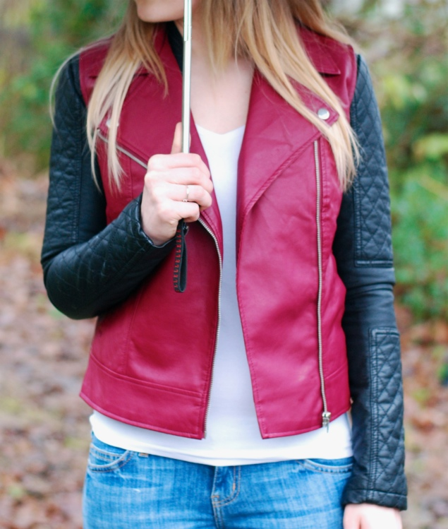 burgundy leather vest waistcoat black jacket Burgundy Leather Vest Over A Black Leather Jacket