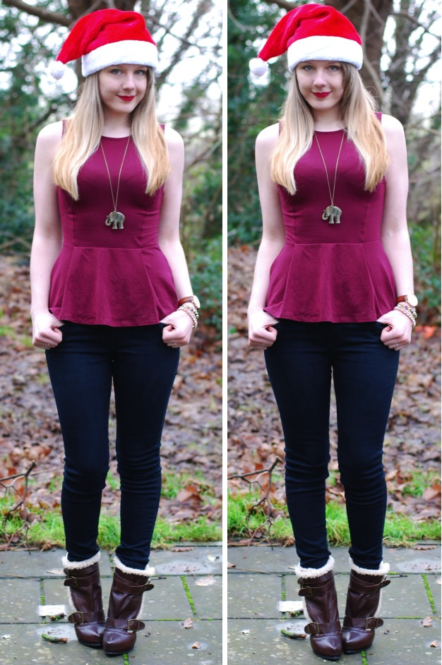 lorna-burford-peplum-top-black-jeans-christmas-hat