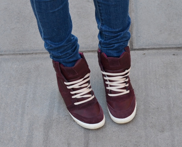 burgundy hidden heel hi tops Padded Out In Burgundy