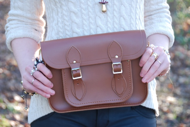 cambridge satchel vintage tan brown Faux Leather Jeans With Accessories