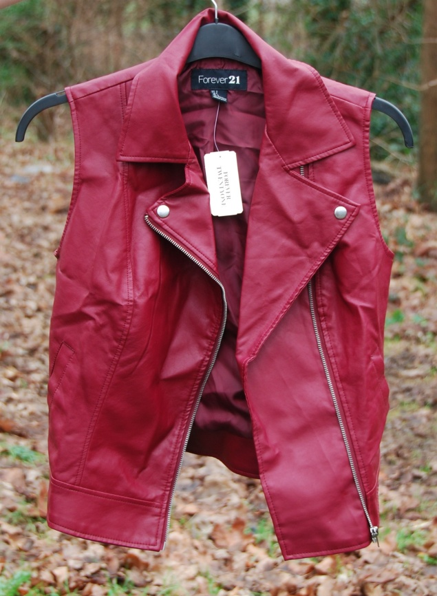 forever 21 red burgundy leather vest New Clothes Purchases