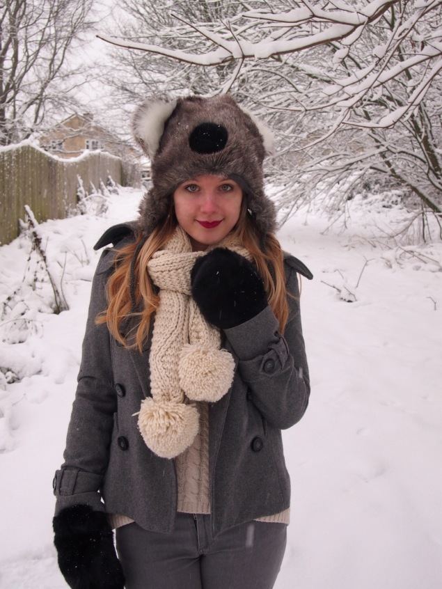 grey white black winter outfit Koala In The Snow