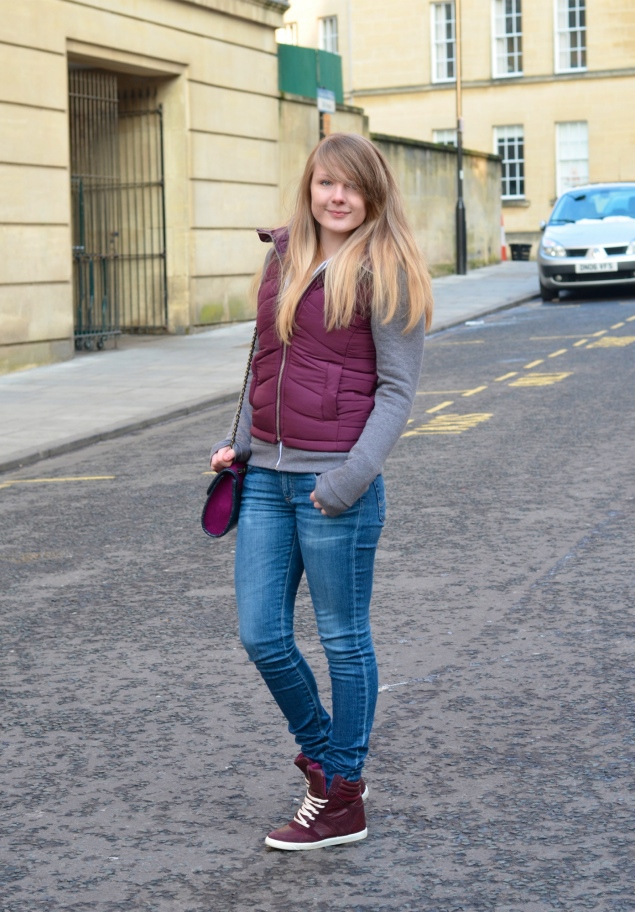 lorna burford ag jeans burgundy gilet Padded Out In Burgundy