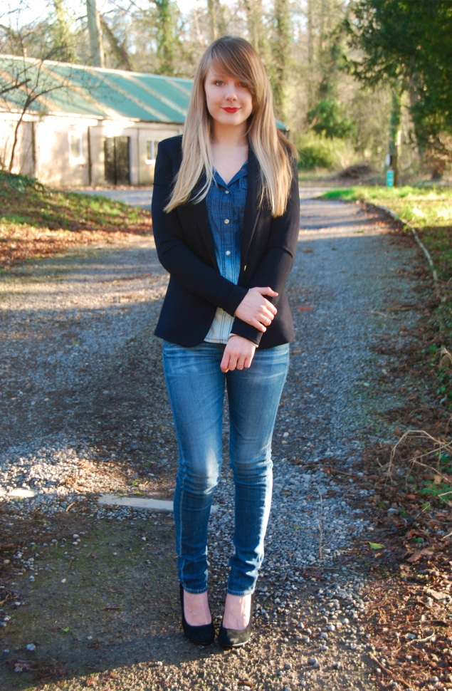 lorna burford denim shirt navy blazer My Outfits From January