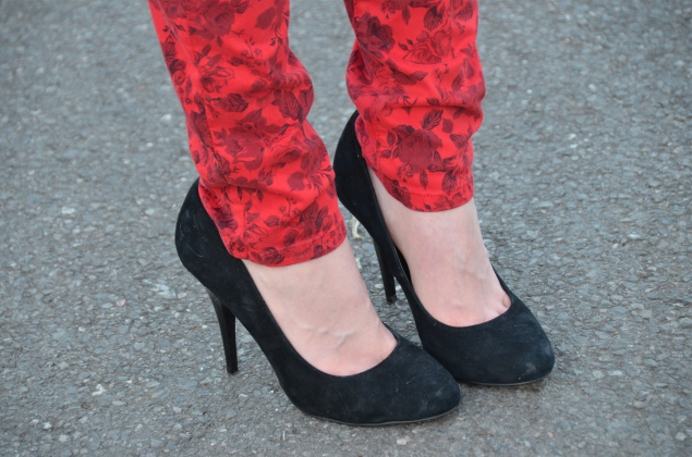 black heels red floral jeans Valentines Day With Flowers In My Messy Bun