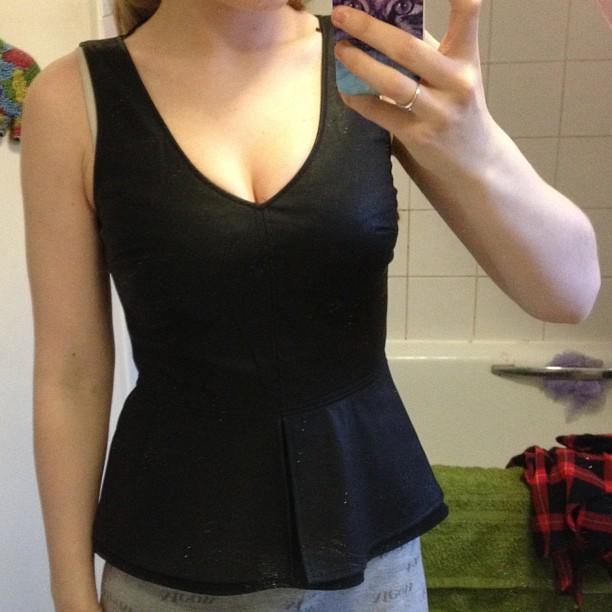 A new faux leather peplum top that I got from Zara.