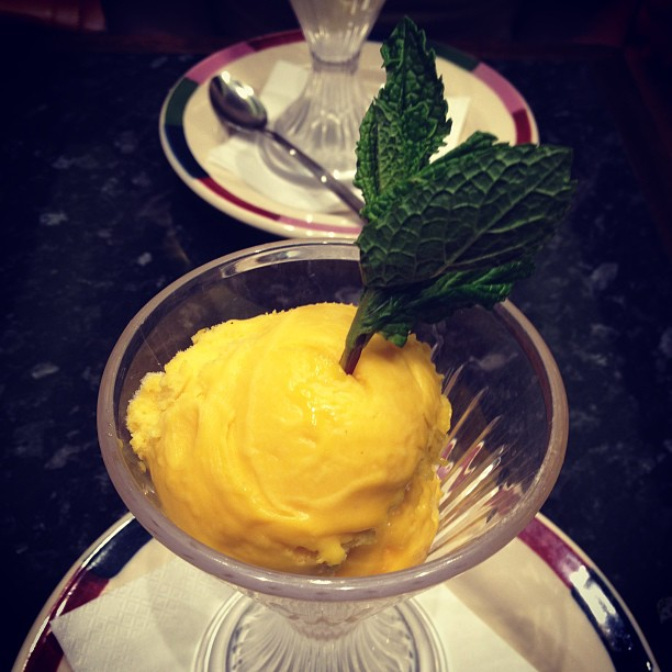 Mango sorbet! I'm sure you can tell I love sorbet, ha ha.