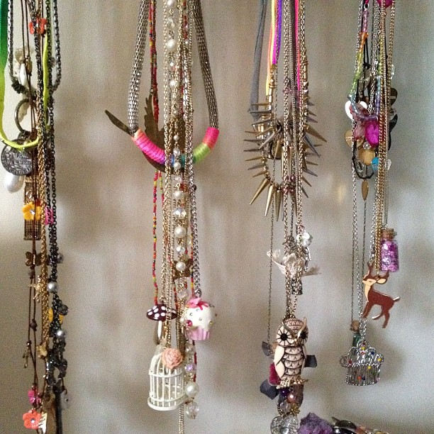 Some of my necklaces hanging up.