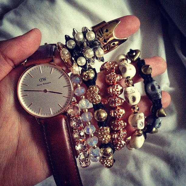 Some bracelets and my Daniel Wellington watch.