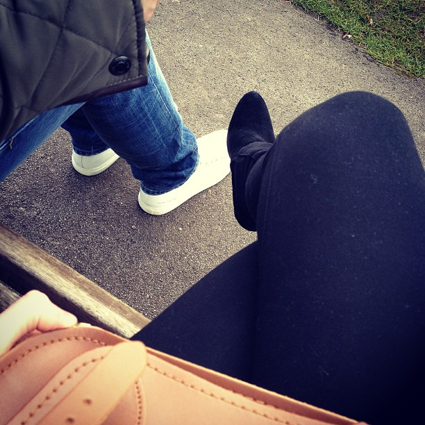 Sat on the bench at the park with my boyfriend.