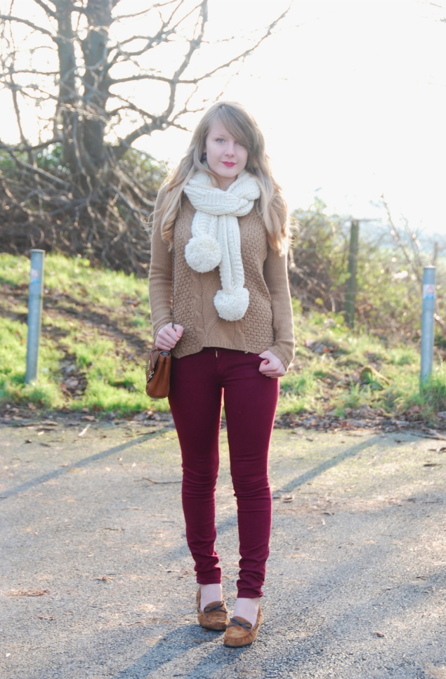 lorna burford burgundy jeans moccasins My Outfits From February