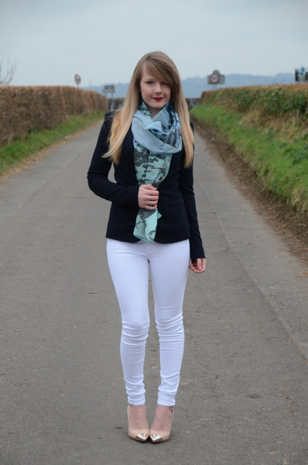 lorna burford white jeans navy blazer My Outfits From February
