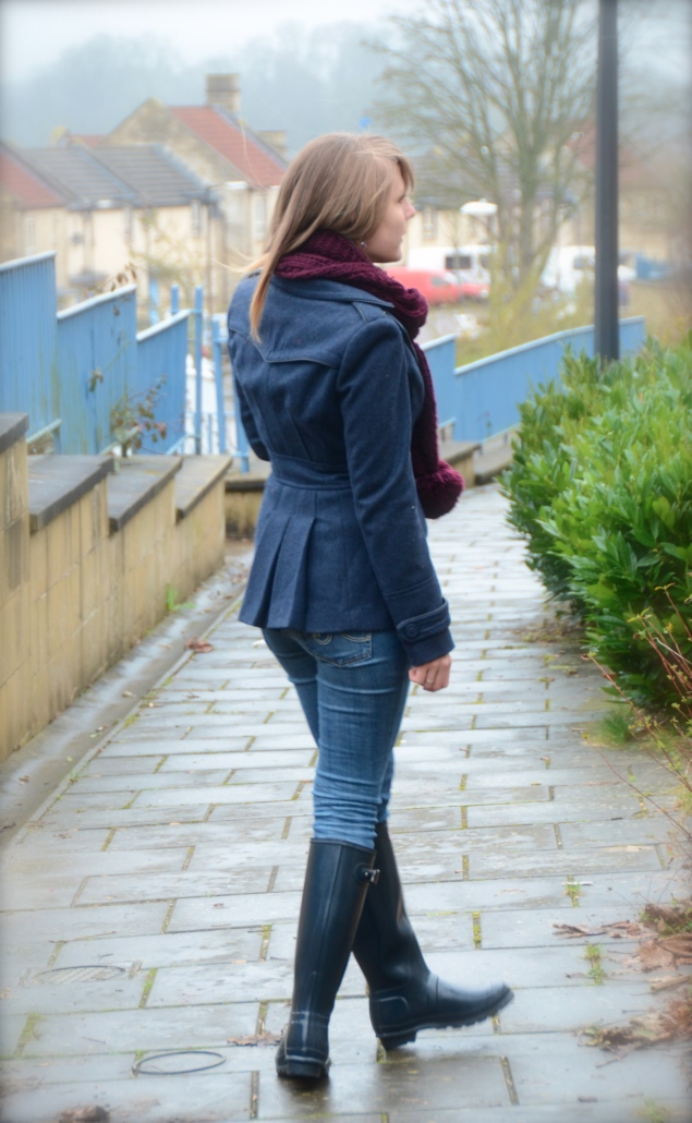 navy peacoat jeans My Navy Hunter Wellies Outfit