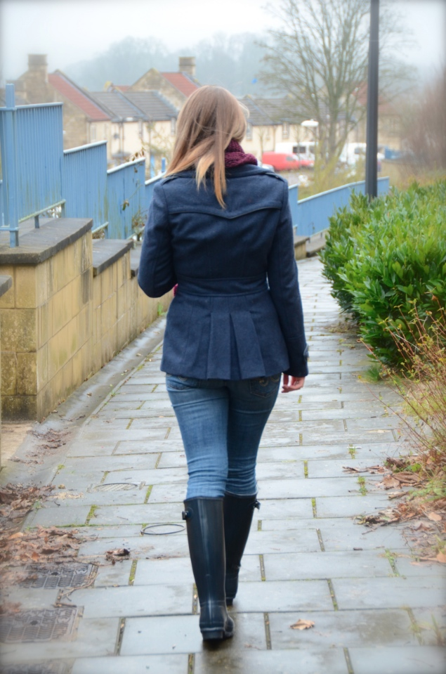 navy peacoat My Navy Hunter Wellies Outfit