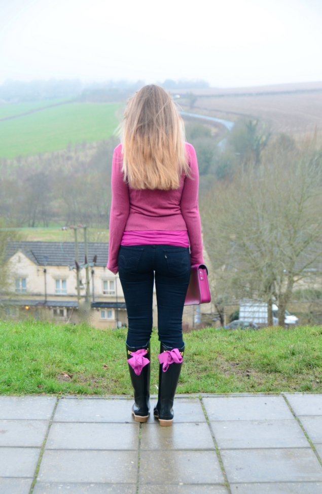 pink ribbon wellies black jeans Country Girl At Heart