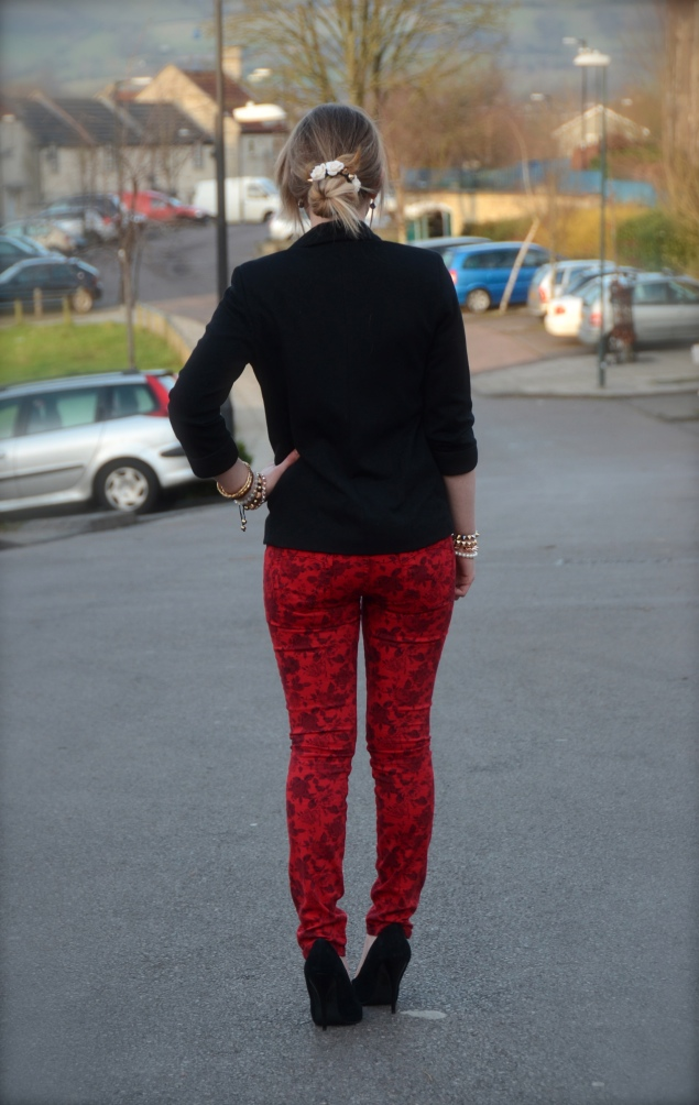 robins jeans red Valentines Day With Flowers In My Messy Bun
