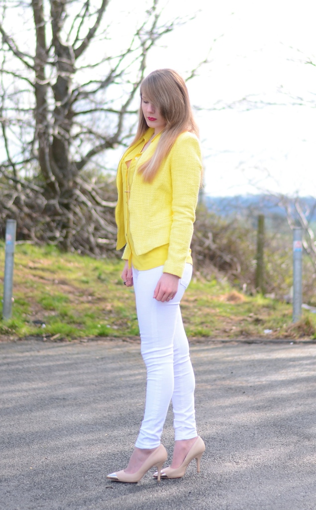 lorna burford lemon yellow jacket white jeans outfit Lemon Yellow Blazer With White Jeans