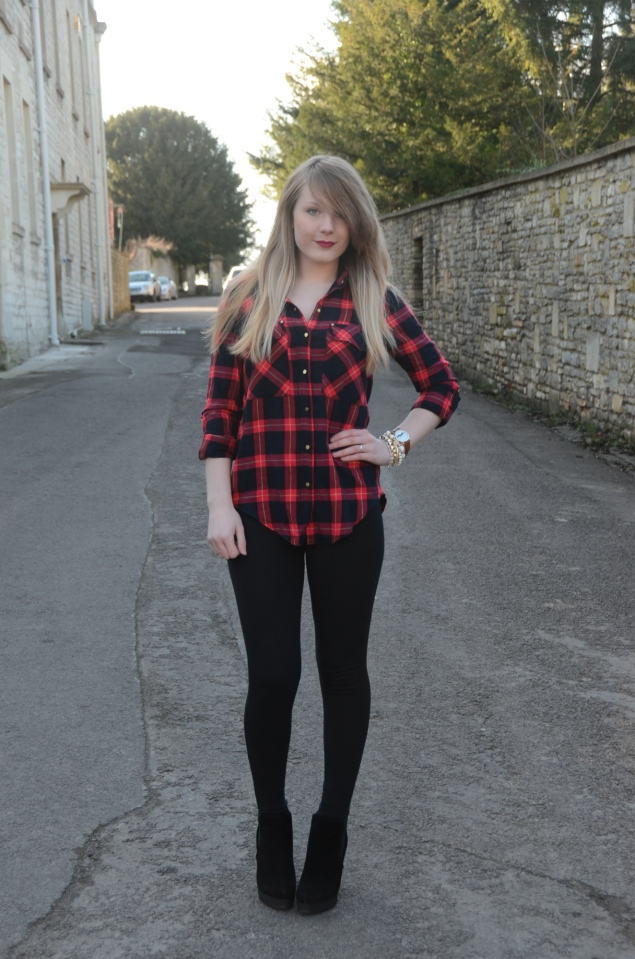 The Red Plaid Shirt With Leggings | Raindrops of Sapphire