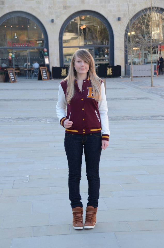 lorna burford varsity jacket Burgundy Varsity Jacket With Jeans