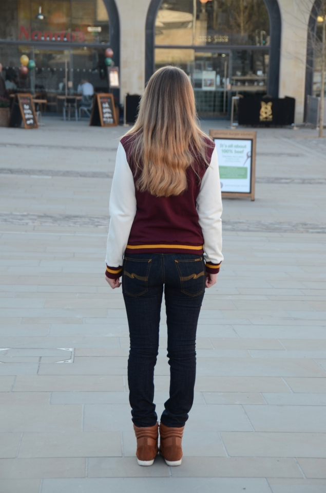 nudie jeans raw back Burgundy Varsity Jacket With Jeans