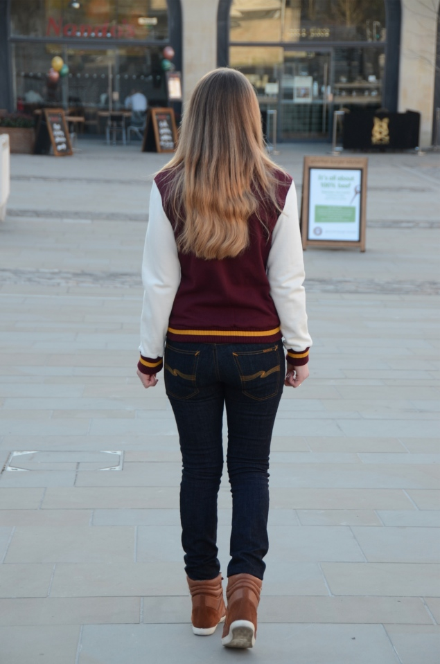 nudie jeans raw Burgundy Varsity Jacket With Jeans