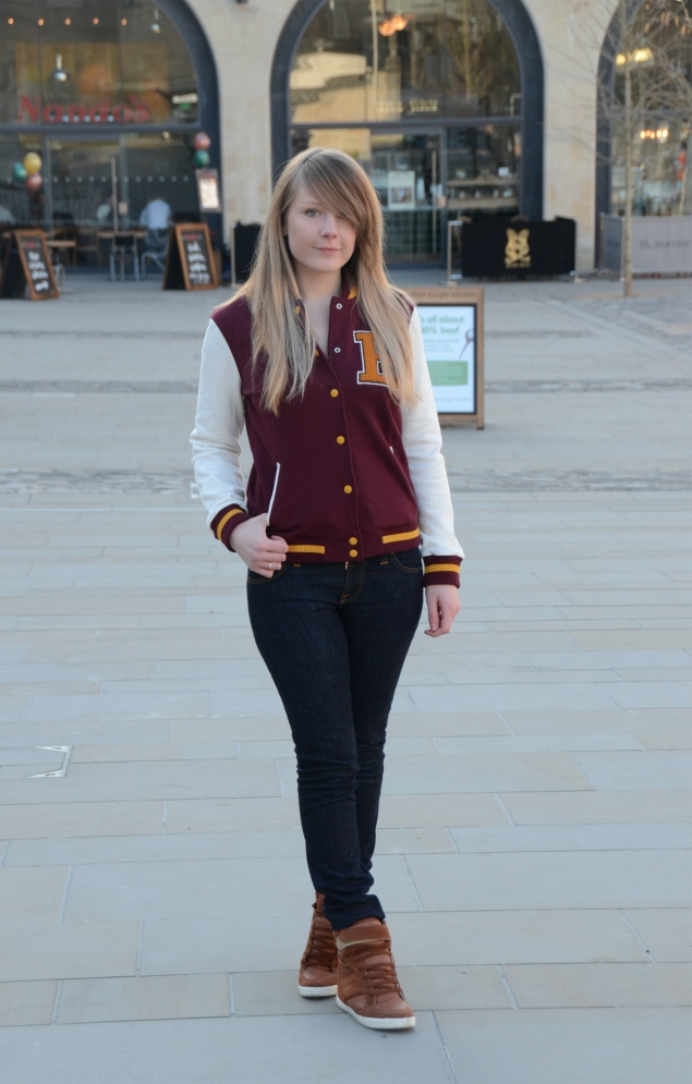 varsity jacket Burgundy Varsity Jacket With Jeans
