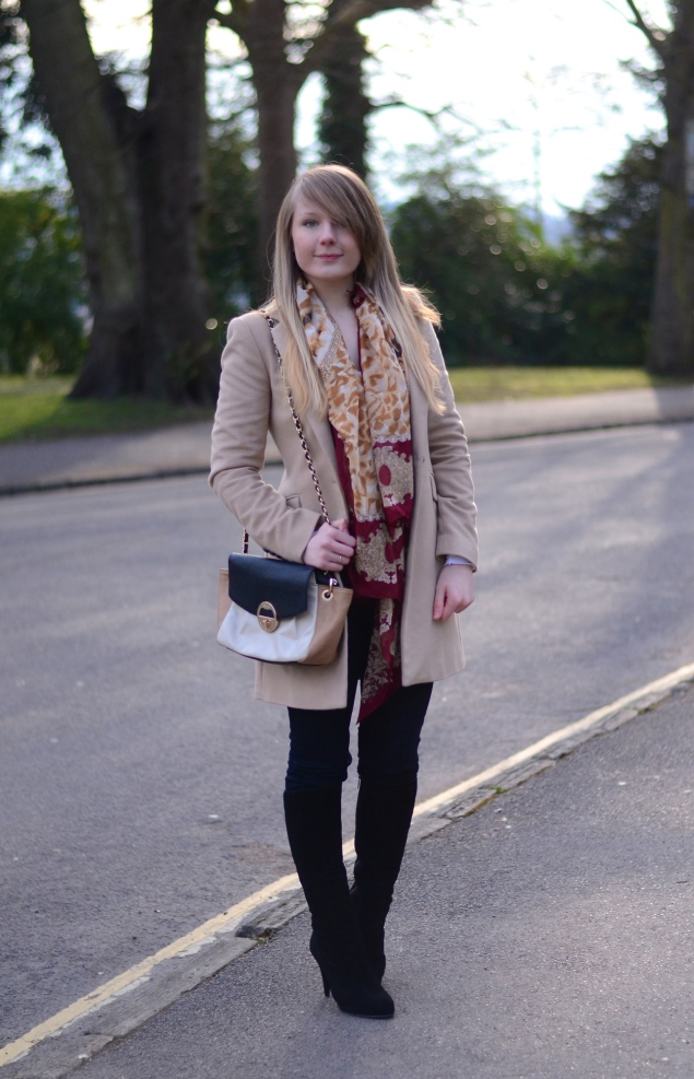 lorna burford black boots beige coat Gold & Red Scarf With Black Boots