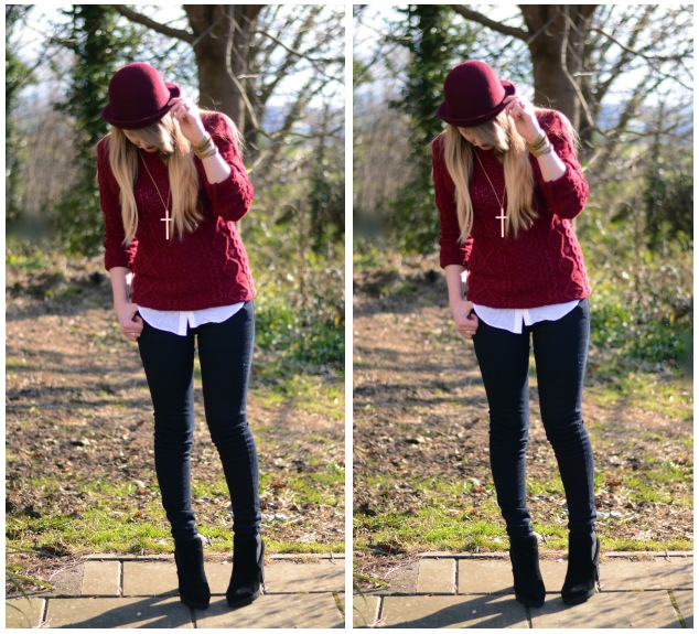 Lorna burford burgundy black jeans outfit raindrops of for What goes with burgundy shirt