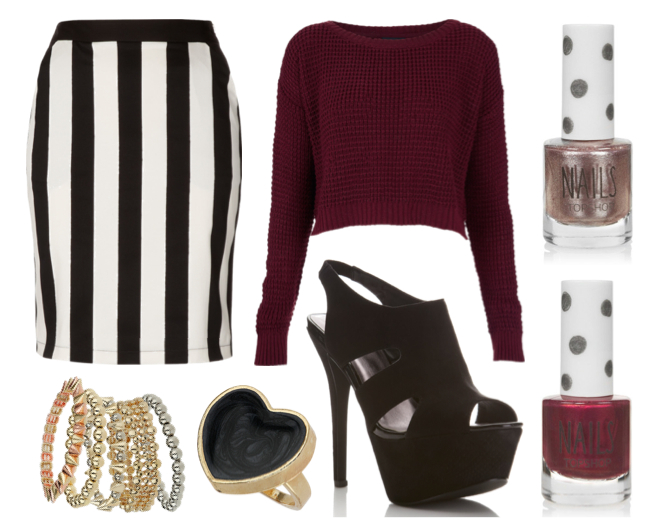 black white stripe skirt burgundy jumper topshop outfit