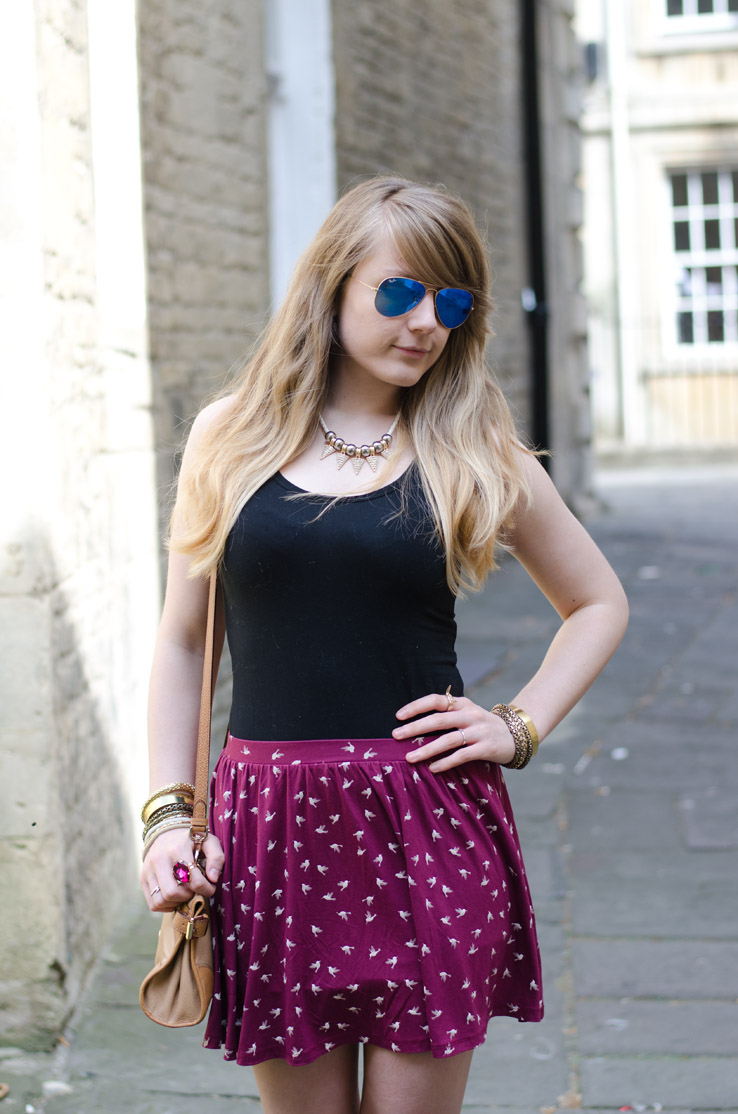 burgundy-bird-print-skirt