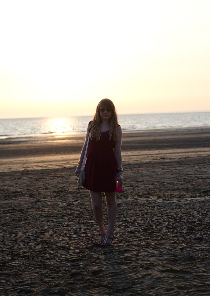 lorna burford beach sea A Burgundy Dress & Sunsets At The Beach