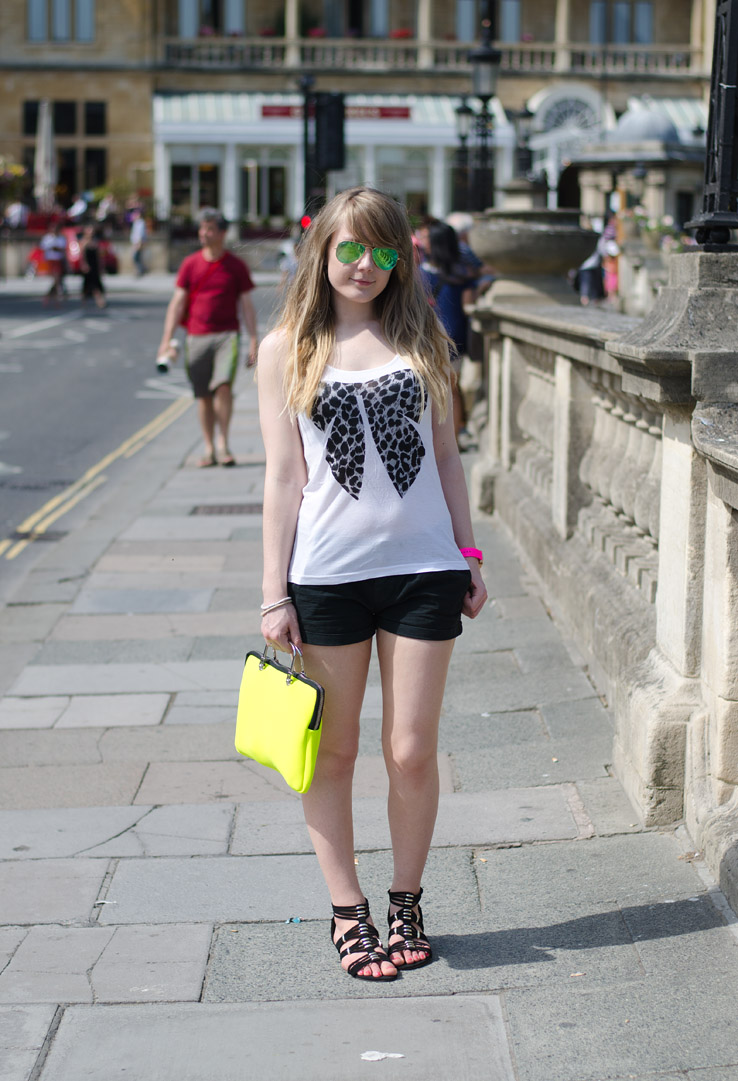 lorna burford black shorts bow top The Black Shorts With A White Bow Tank Top