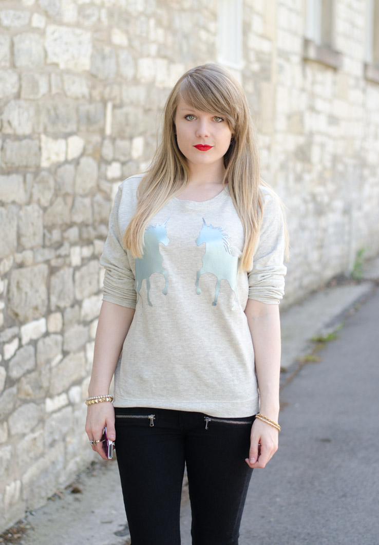 lorna burford grey silver unicorn jumper sweater Gone Away With The Metallic Unicorns