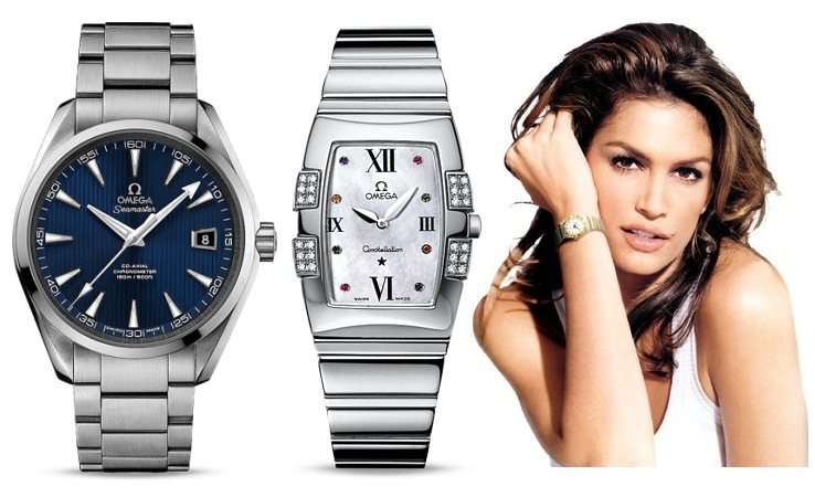 Omega Aqua Terra Seamaster and Quadrella Quartz Cindy Crawford