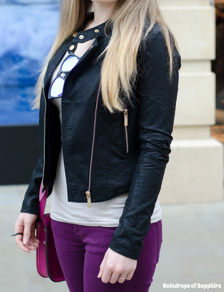 bank-clothing-faux-leather-ruched-sleeve-jacket