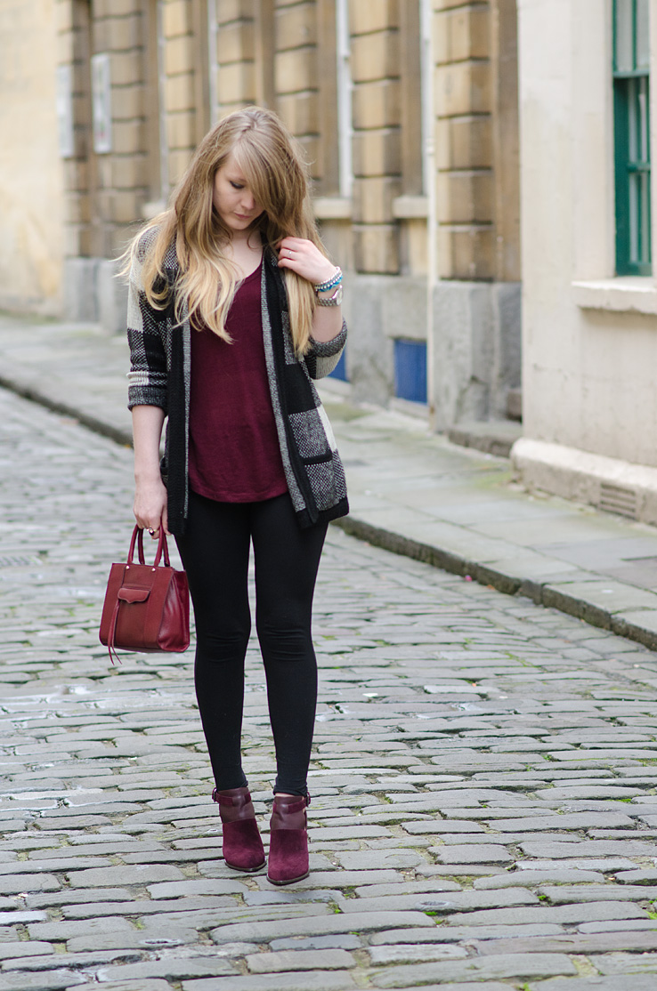 black leggings burgundy top