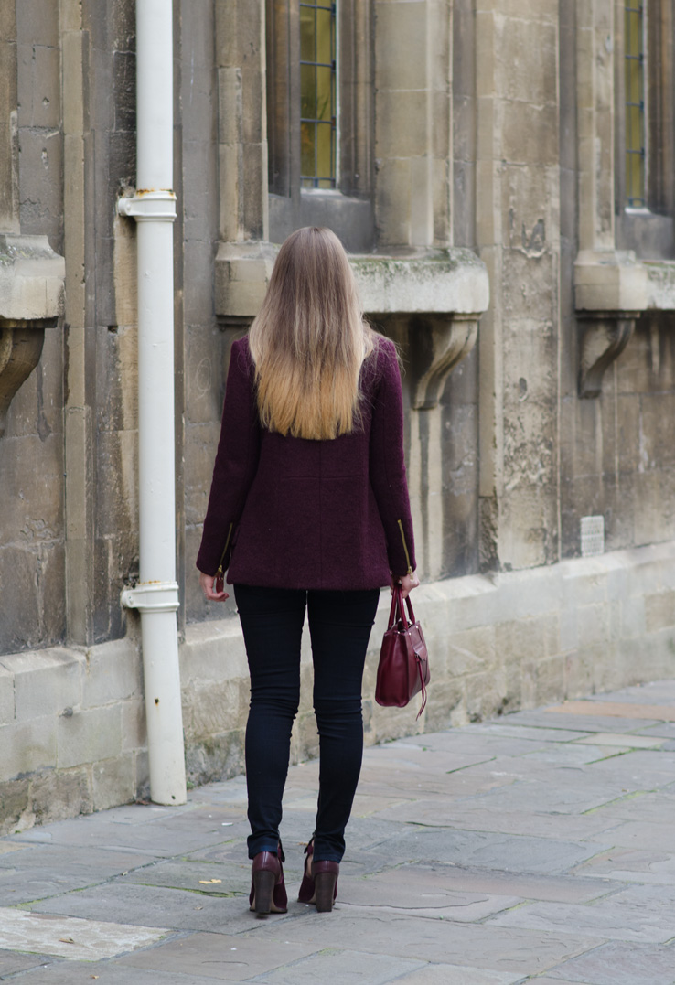 burgundy-zara-coat-blazer-blonde-ombre-hair