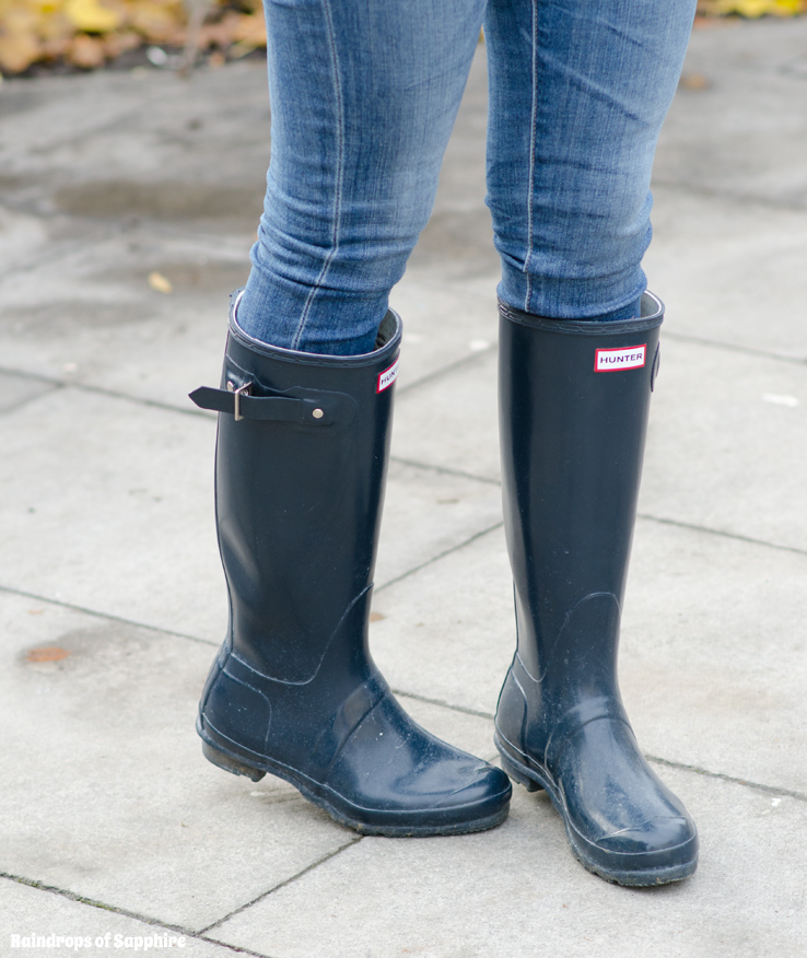 Hunter Navy Original Tall Gloss Wellies & Fair Isle Gilet ...