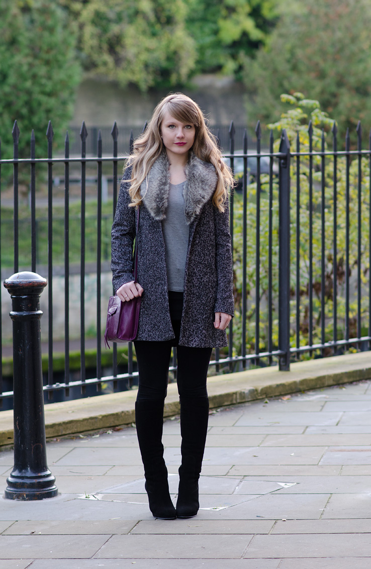 Warehouse Grey Faux Fur Collar Coat Outfit | Raindrops of Sapphire