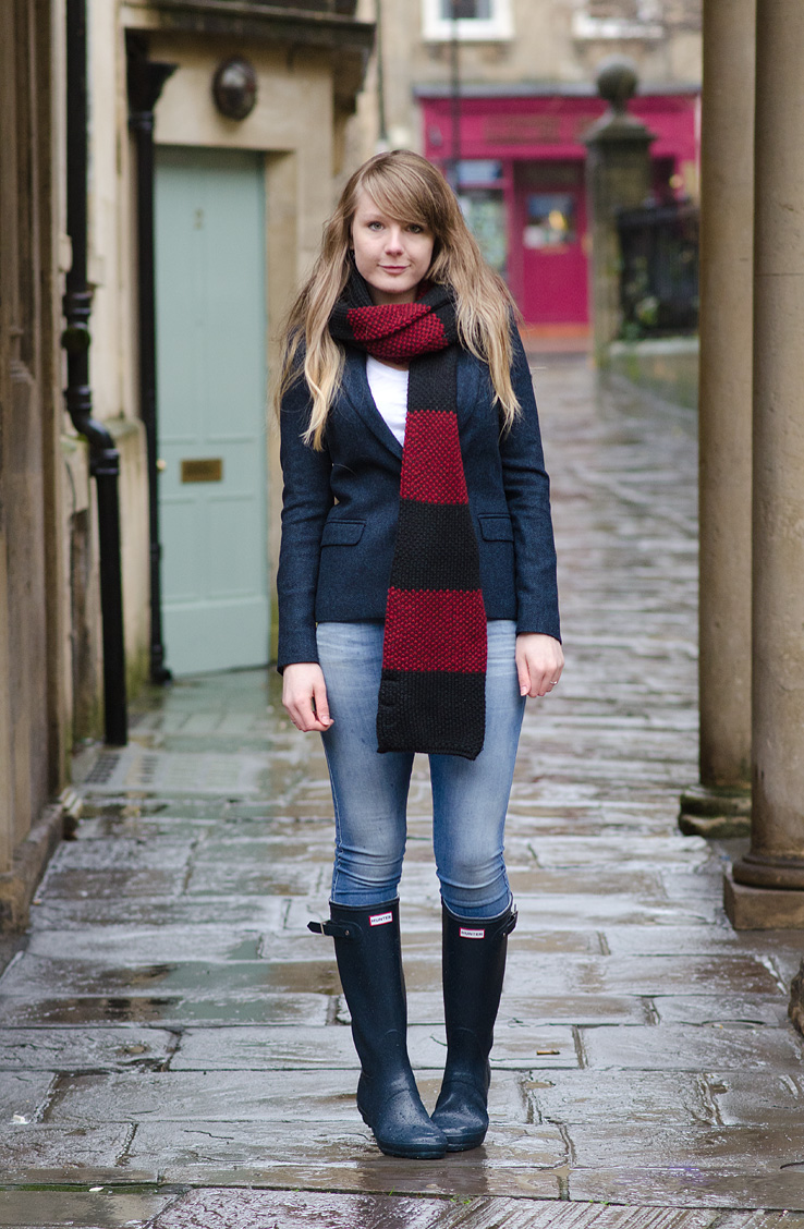 lorna burford navy blazer diesel skinzee jeans hunter wellies Braving The Rain In Navy