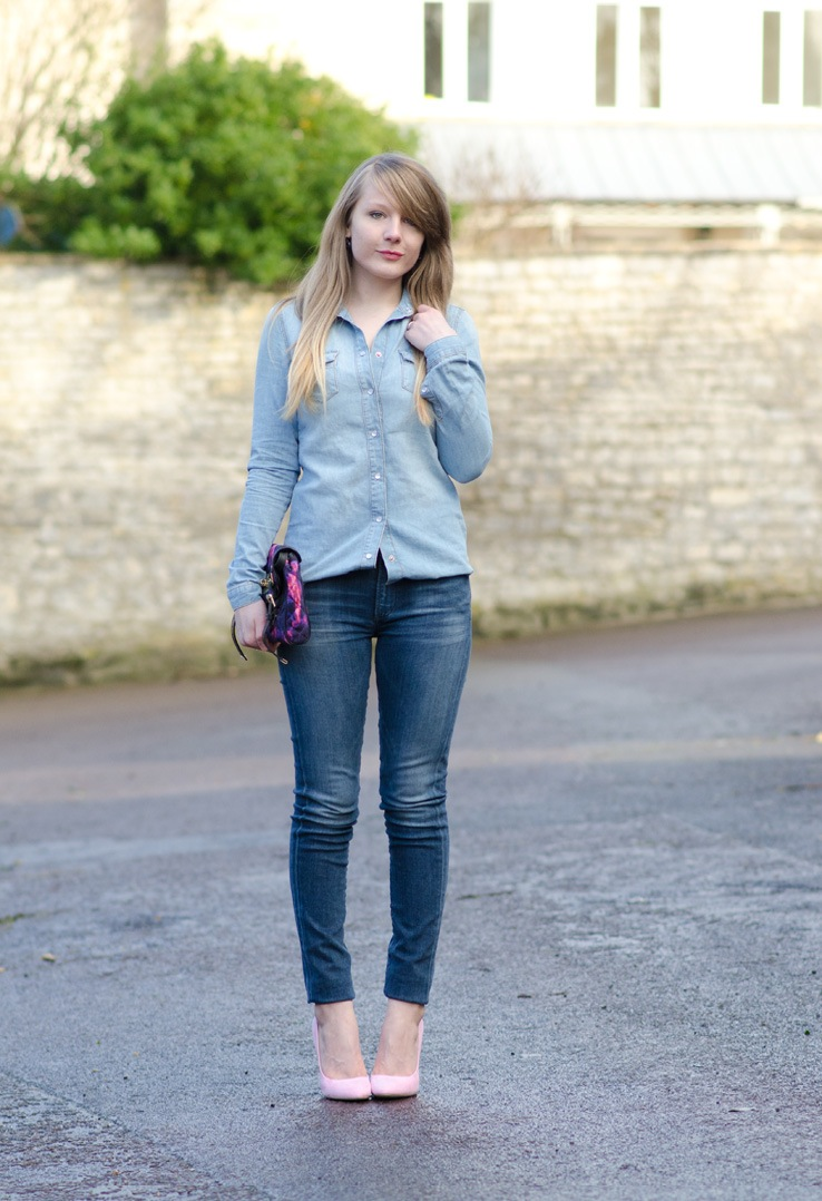 Triple Denim Outfit Jeans Shirt Mulberry Bag Raindrops Of Sapphire