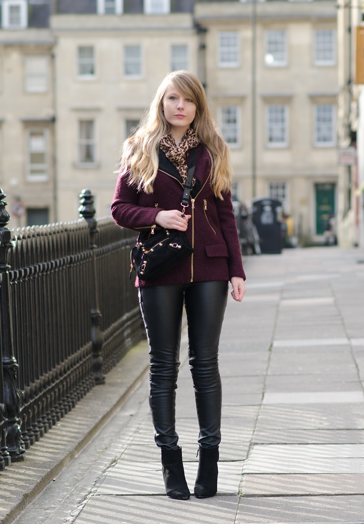Faux Leather Skinny Jeans With A Burgundy Coat Raindrops