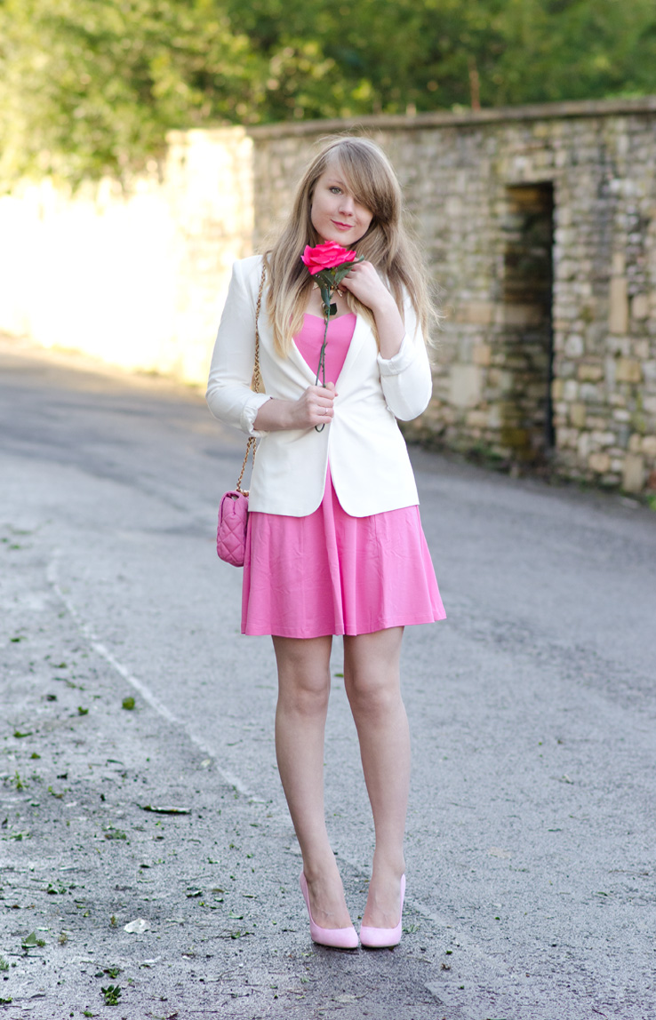 pink-rose-pink-dress-pink-shoes