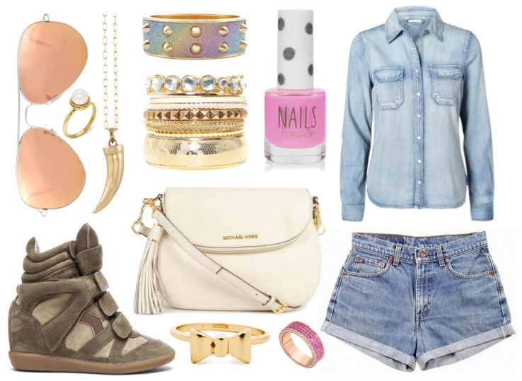spring-outfit-raindrops-of-sapphire-denim-shirt-shorts-isabel-marant-bekket